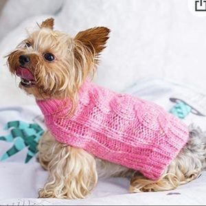 Turtleneck Dog Pullover Cable Knit Sweater, Pink M
